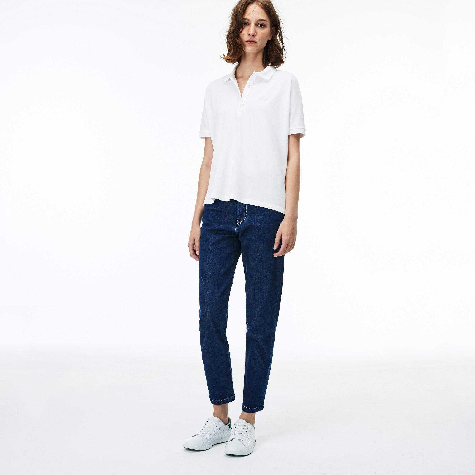 Lacoste Women's Relax Fit Flowing Stretch Cotton Piqué Soft Polo