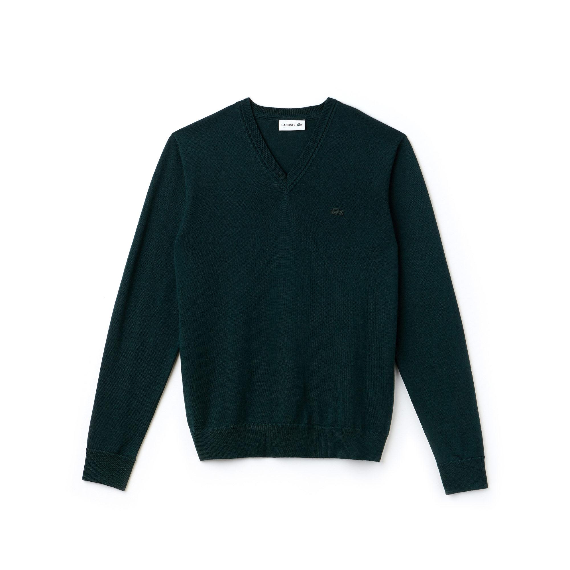Lacoste Men's V-Neck Wool Jersey Sweater