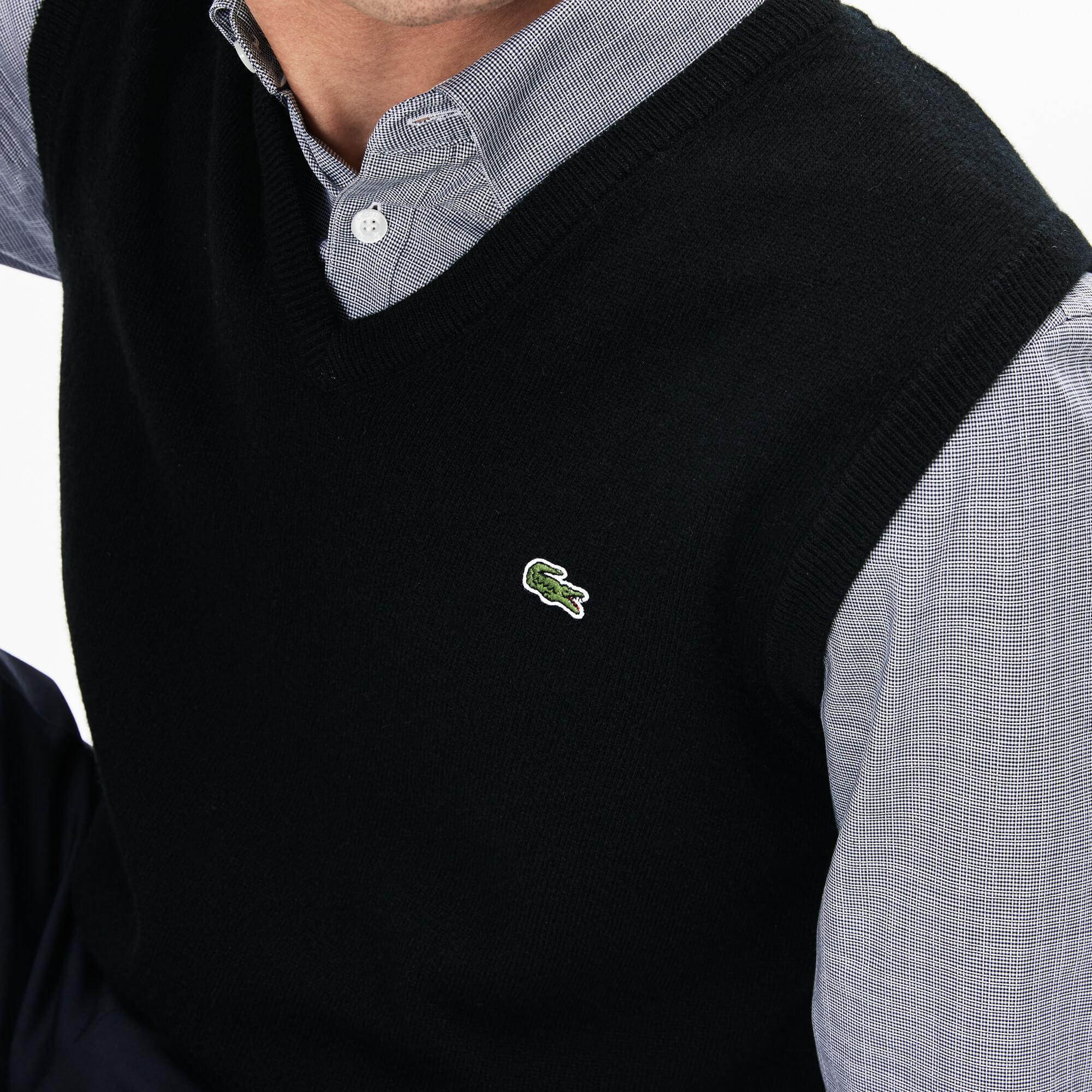 Lacoste Men's V-Neck Wool Jersey Vest