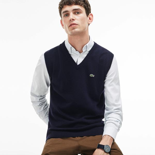 Lacoste Men's V-Neck Wool Jersey Vest