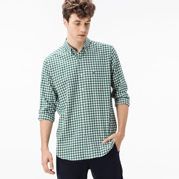 Lacoste Men's Regular Fit Blue-White Plaid Shirt