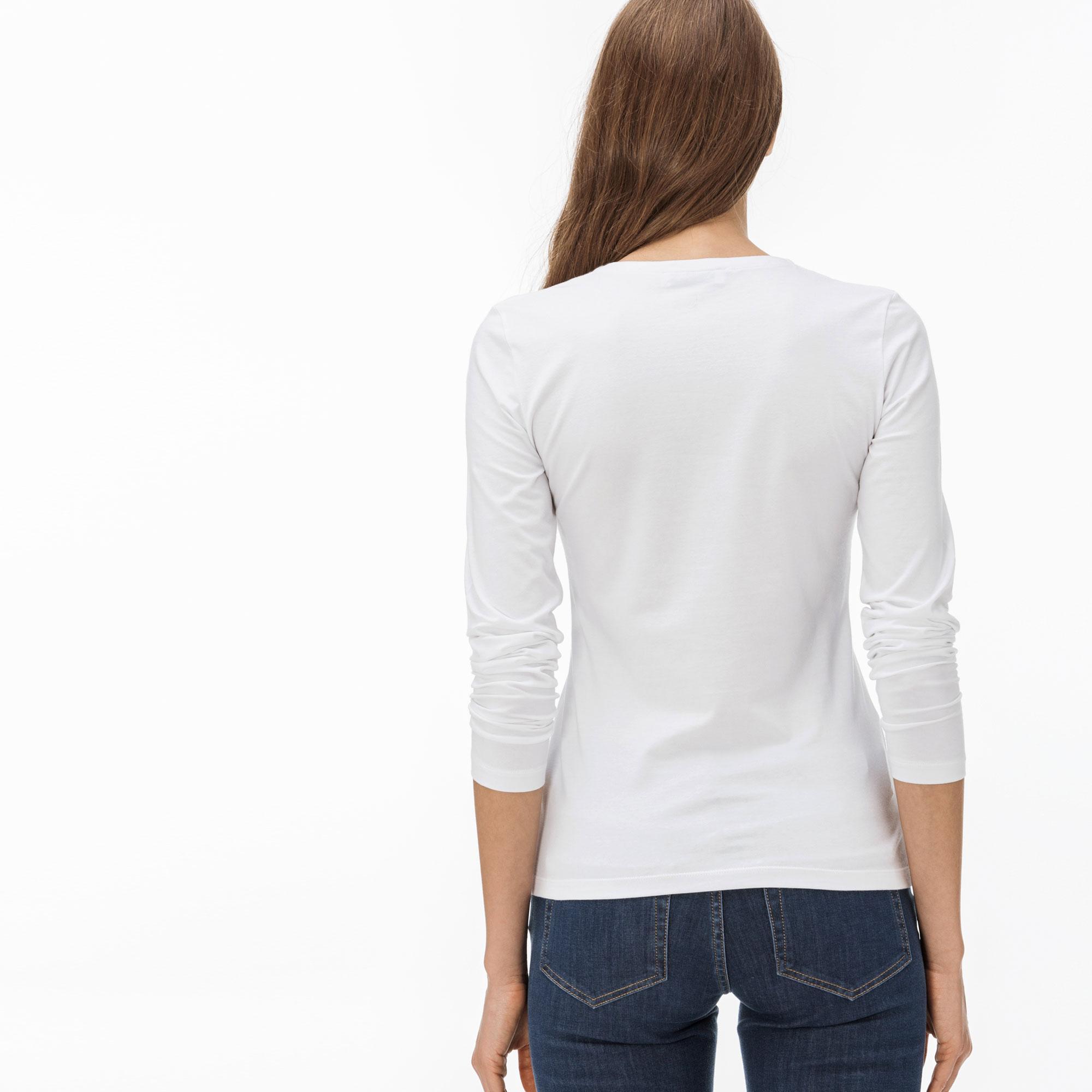 Lacoste Women's V-Neck Flowing Cotton Jersey T-Shirt