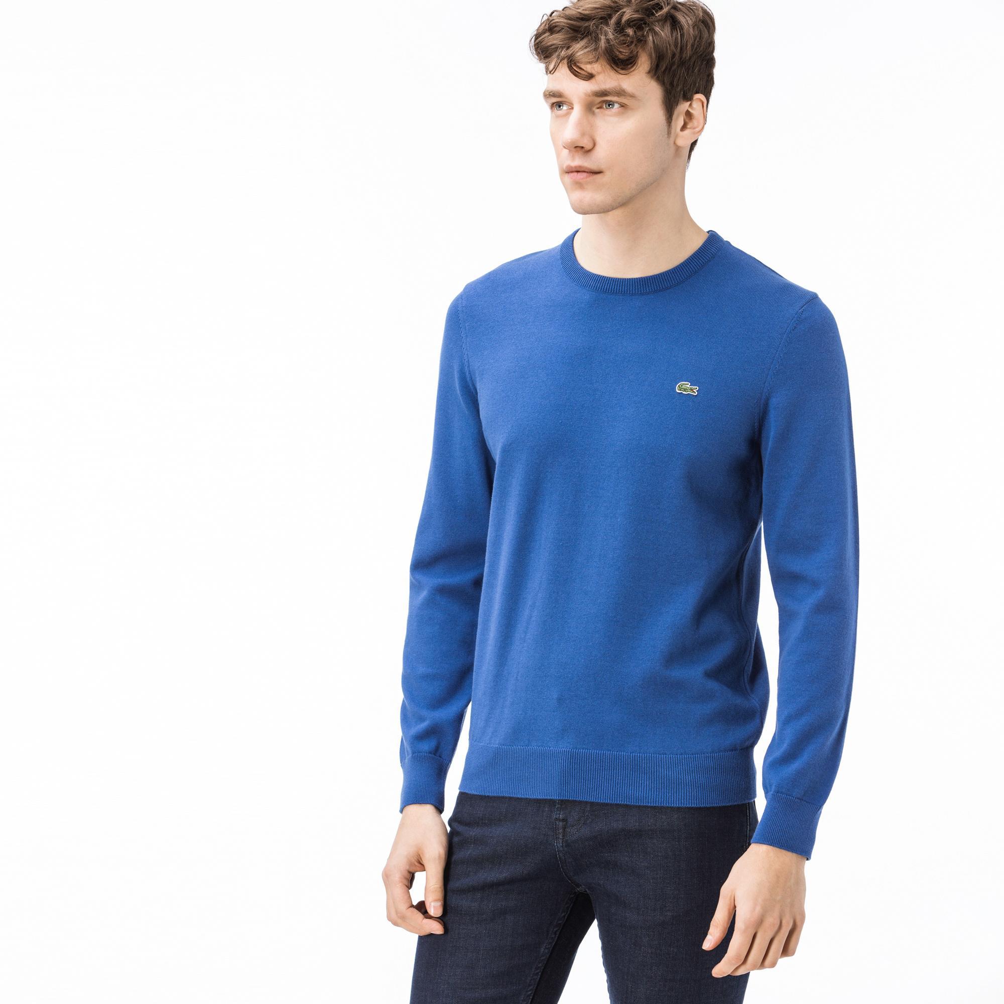 Lacoste Męski Sweter Bawełniany Z Dżerseju Z Akcentem Z Piki O Strukturze Kawioru Z Okrągłym Dekoltem