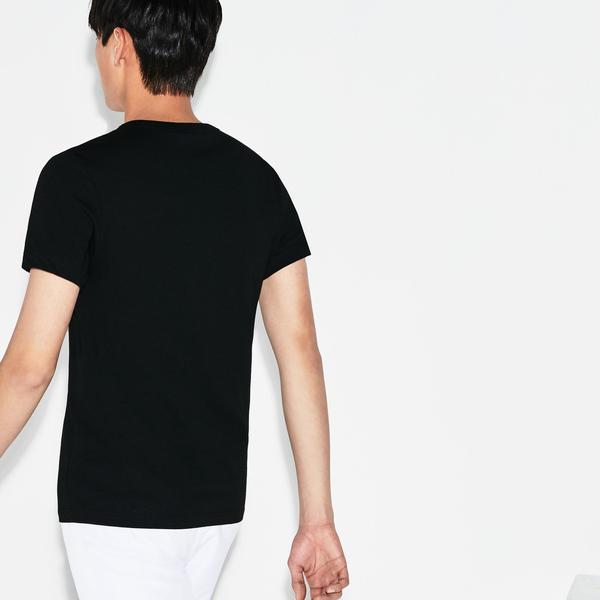 Lacoste Męski Sportowy T-Shirt Do Gry W Tenisa Z Dużym Nadrukiem Krokodyla Z Technicznego Dżerseju