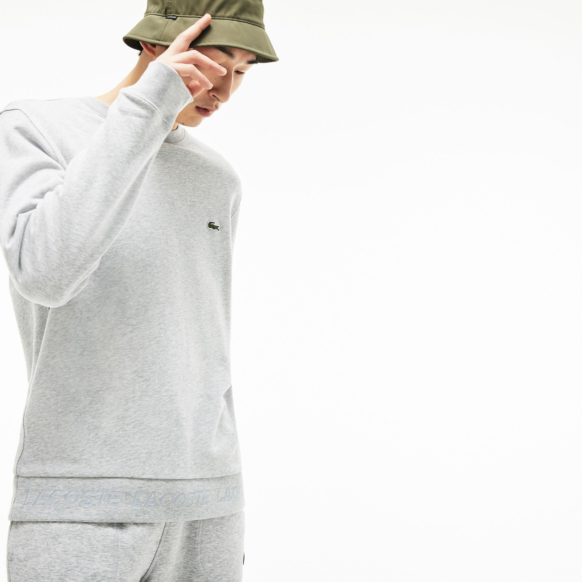 Lacoste Męska Kontrastowa Bluza Z Polaru Z Okrągłym Dekoltem
