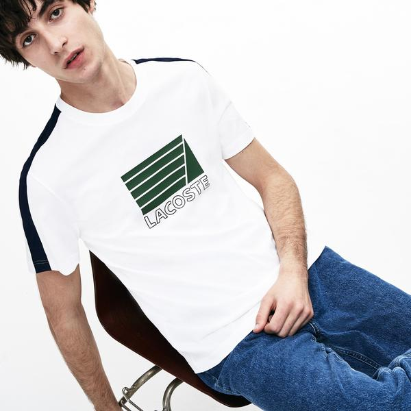 Lacoste Men's Crew Neck Contrast Bands And Nautical Logo T-Shirts