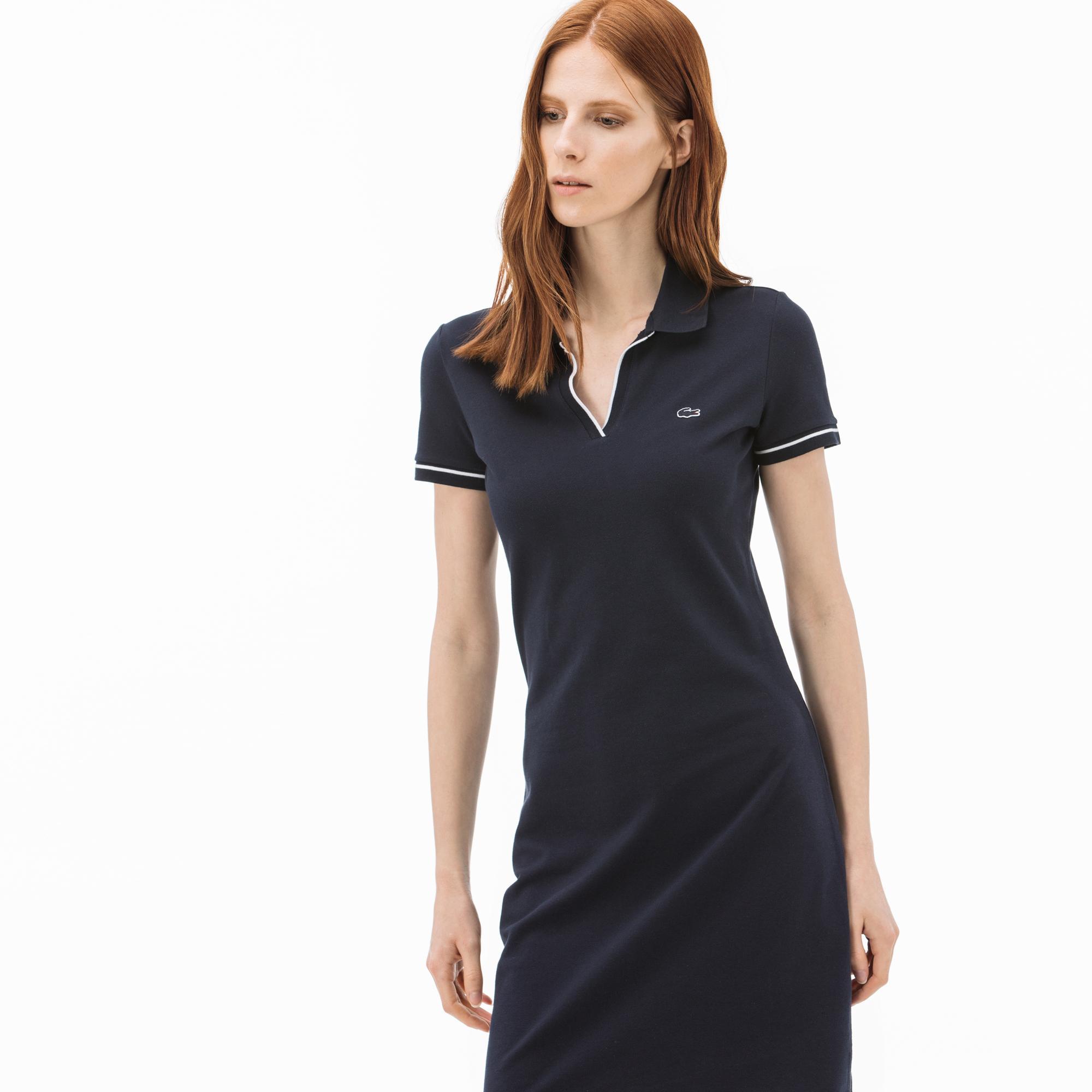 Lacoste Damska sukienka z kołnierzykiem polo z krótkim rękawem
