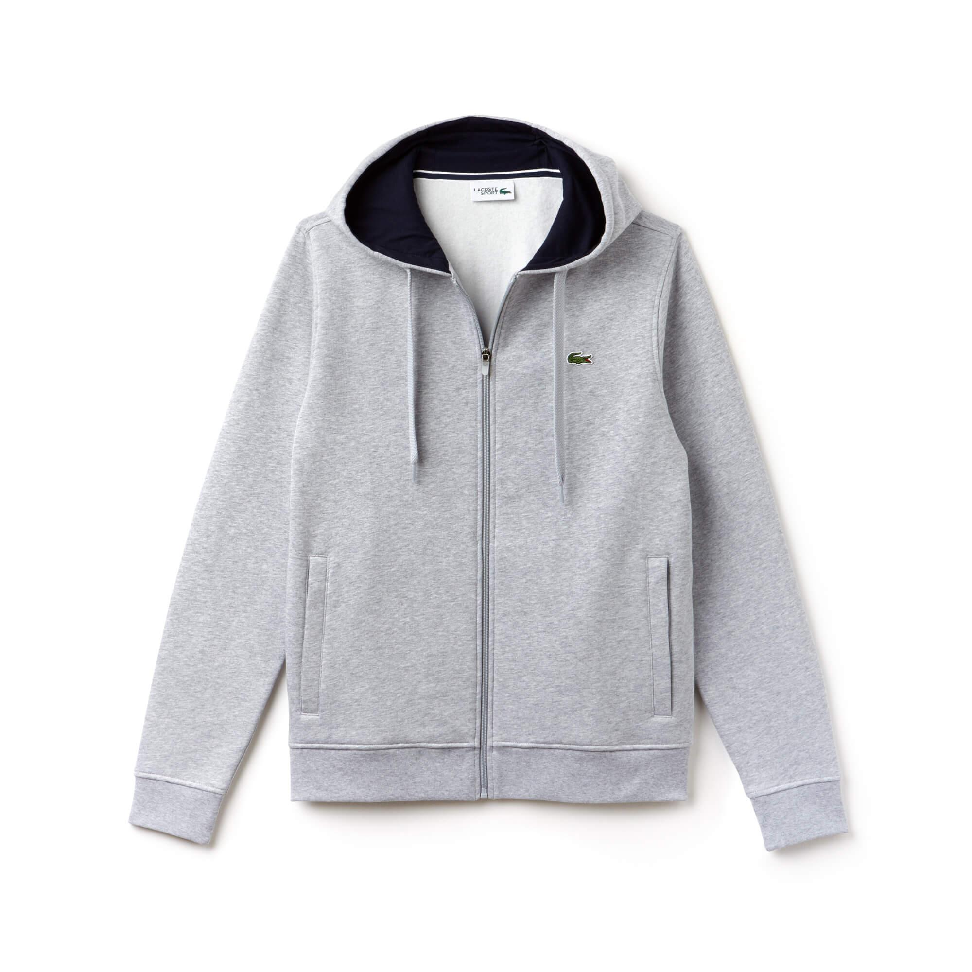 Lacoste Sport Men's Tennis Hooded Zippered Sweatshirt in Fleece