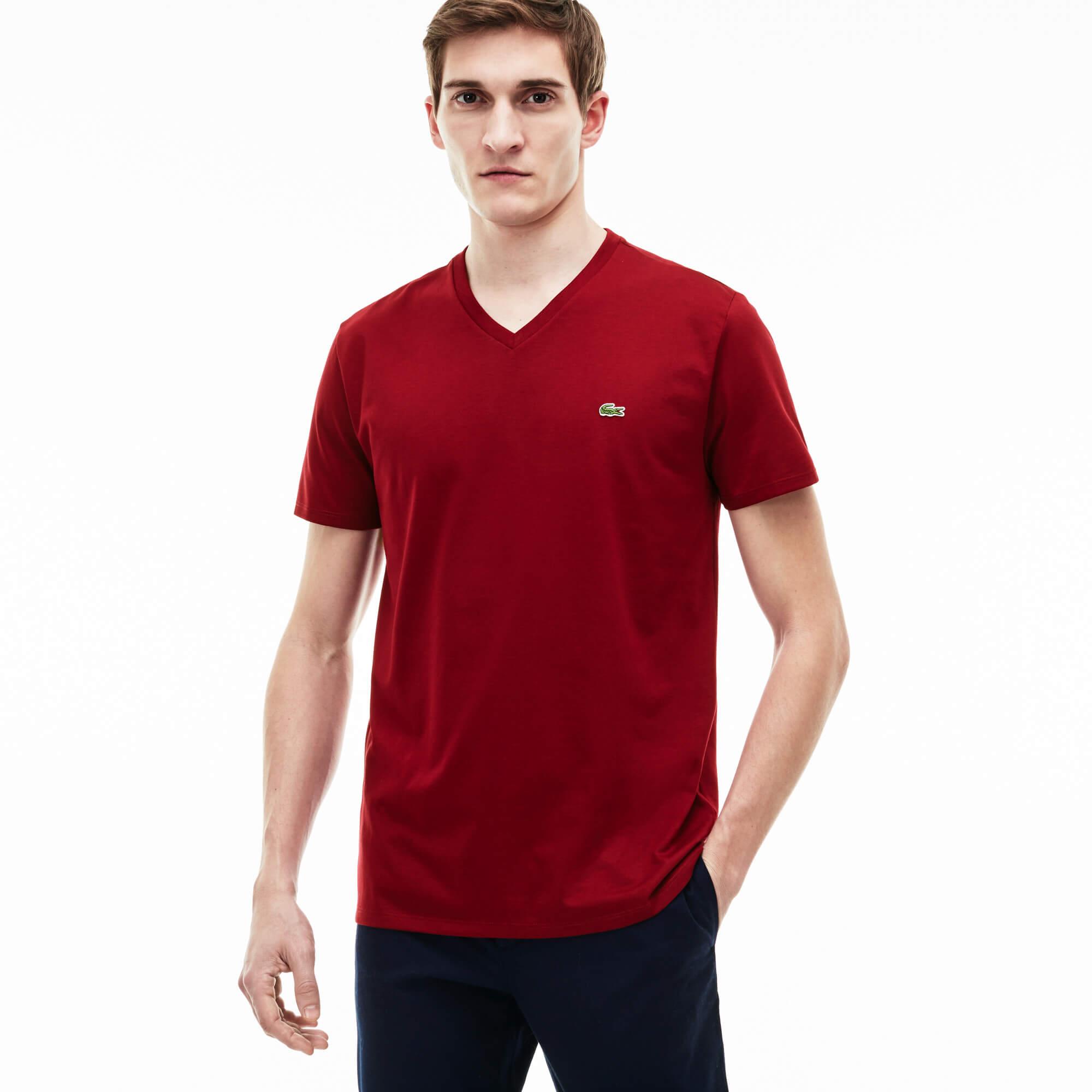 Lacoste Męski T-Shirt Z Dekoltem W Kształcie Literyz Dżerseju Z Bawełny Pima