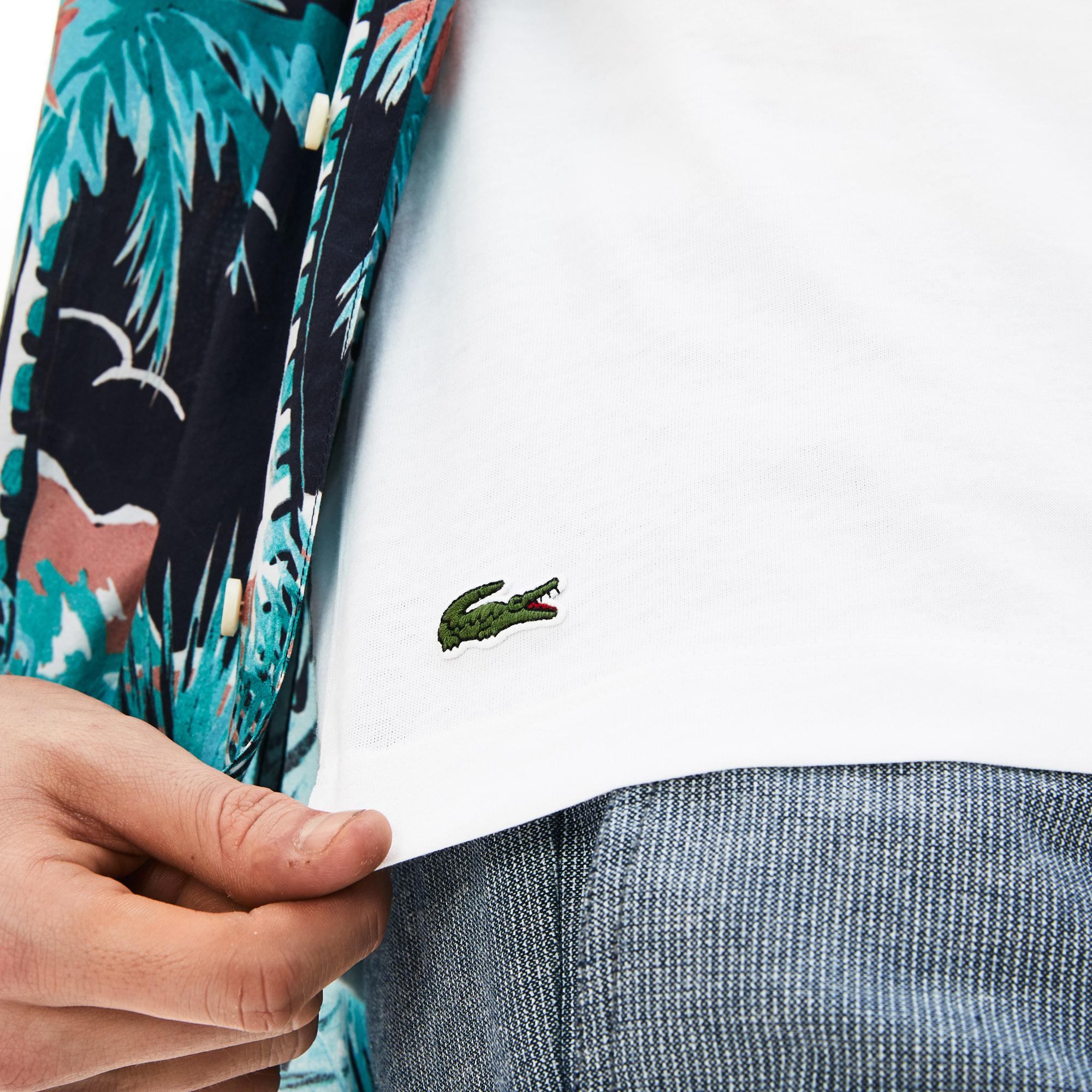 Lacoste Men's Crew Neck Hawaiian Lettering Print T-Shirts