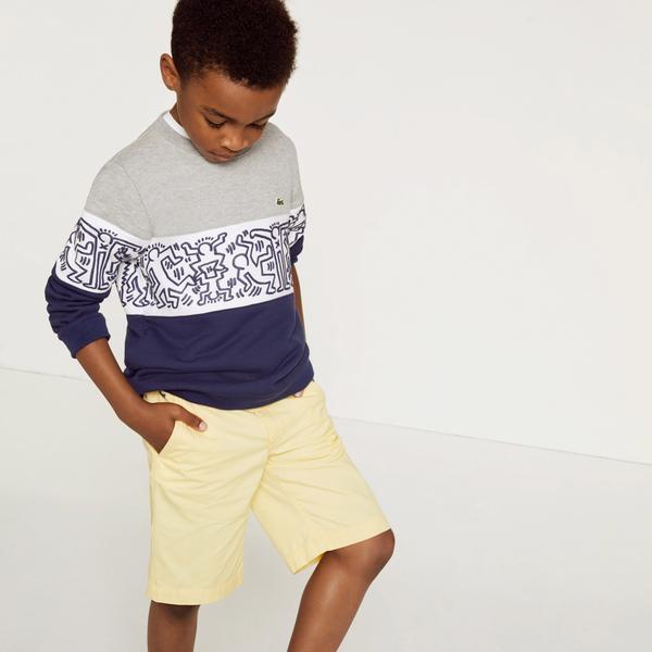 Lacoste X Keith Haring Boy's Print Crew Neck Colourblock Fleece Sweatshirt