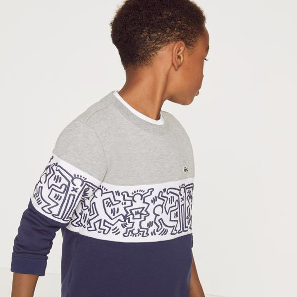 Lacoste X Keith Haring Boys' Print Crew Neck Colourblock Fleece Sweatshirts