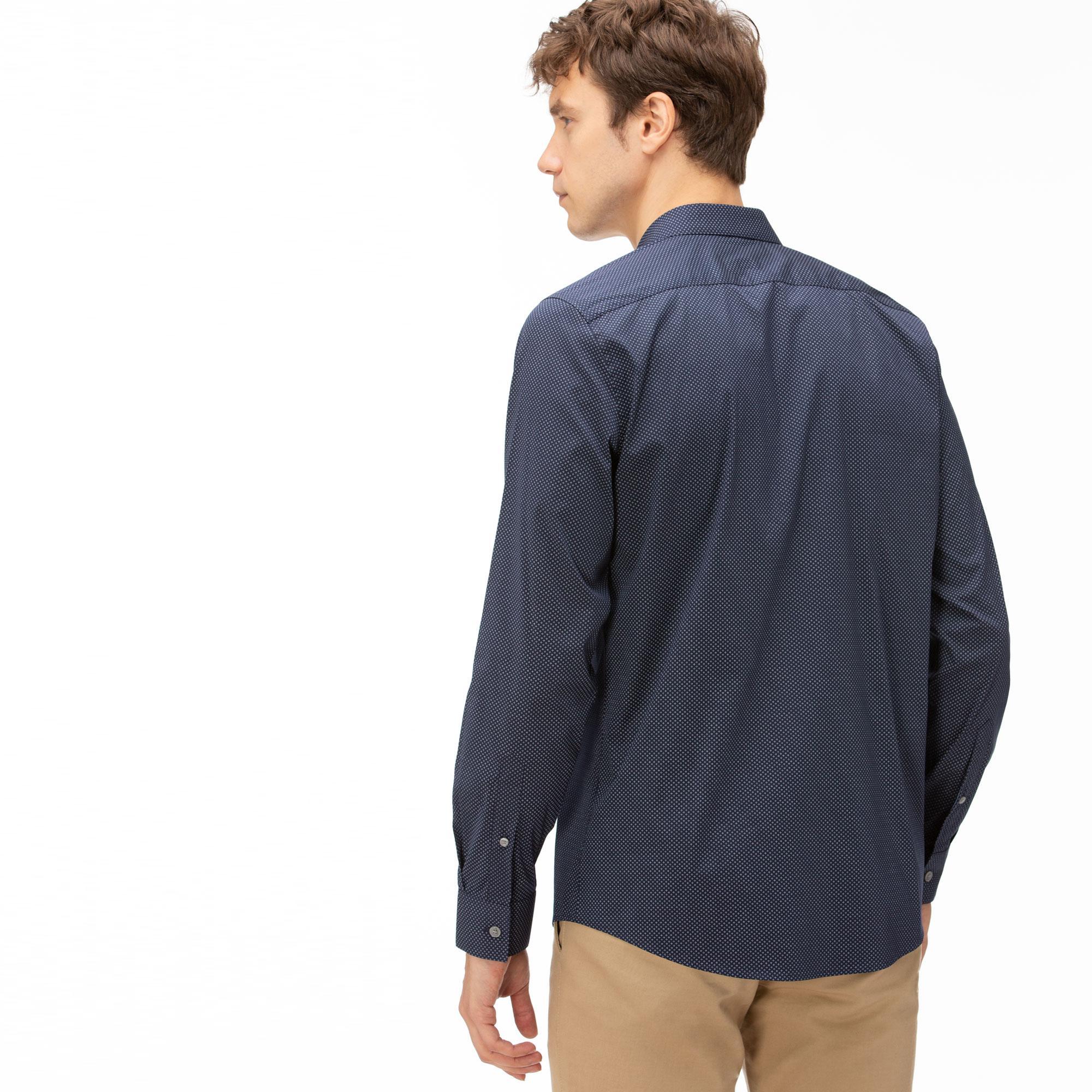 Lacoste Men's Slim Fit Mini Patterned Stretch Poplin Shirt