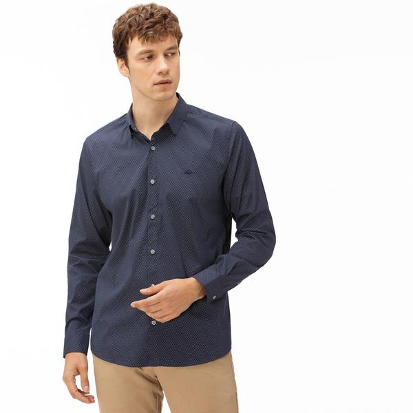 Lacoste Men's Slim Fit Mini Patterned Stretch Poplin Shirt