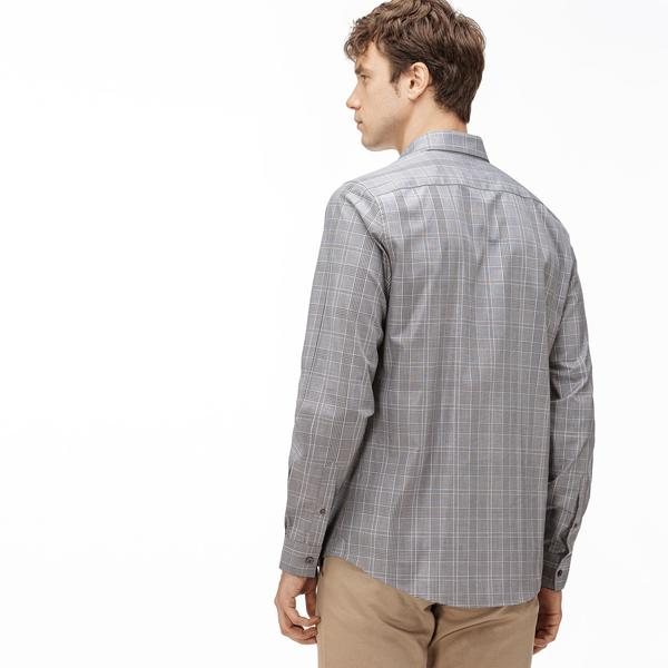 Lacoste Men's Slim Fit Glen Plaid Cotton Shirt