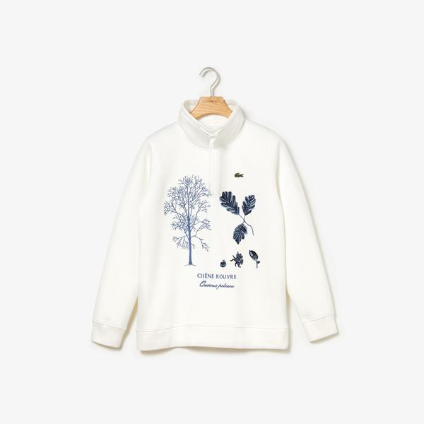 Lacoste Women's Adjustable Stand-Up Neck Herbal Print Sweatshirt