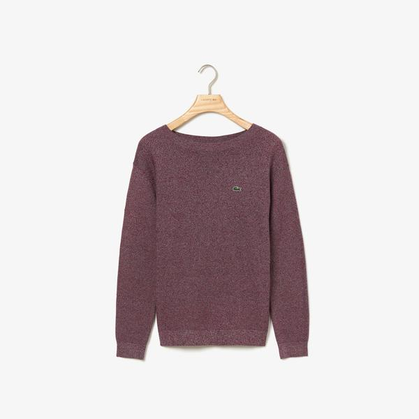 Lacoste Women's Boat Neck Texturised Heathered Cotton Sweater