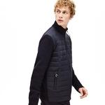Lacoste Men's Motion Bi-Material Quilted Hybrid Zip Cardigan