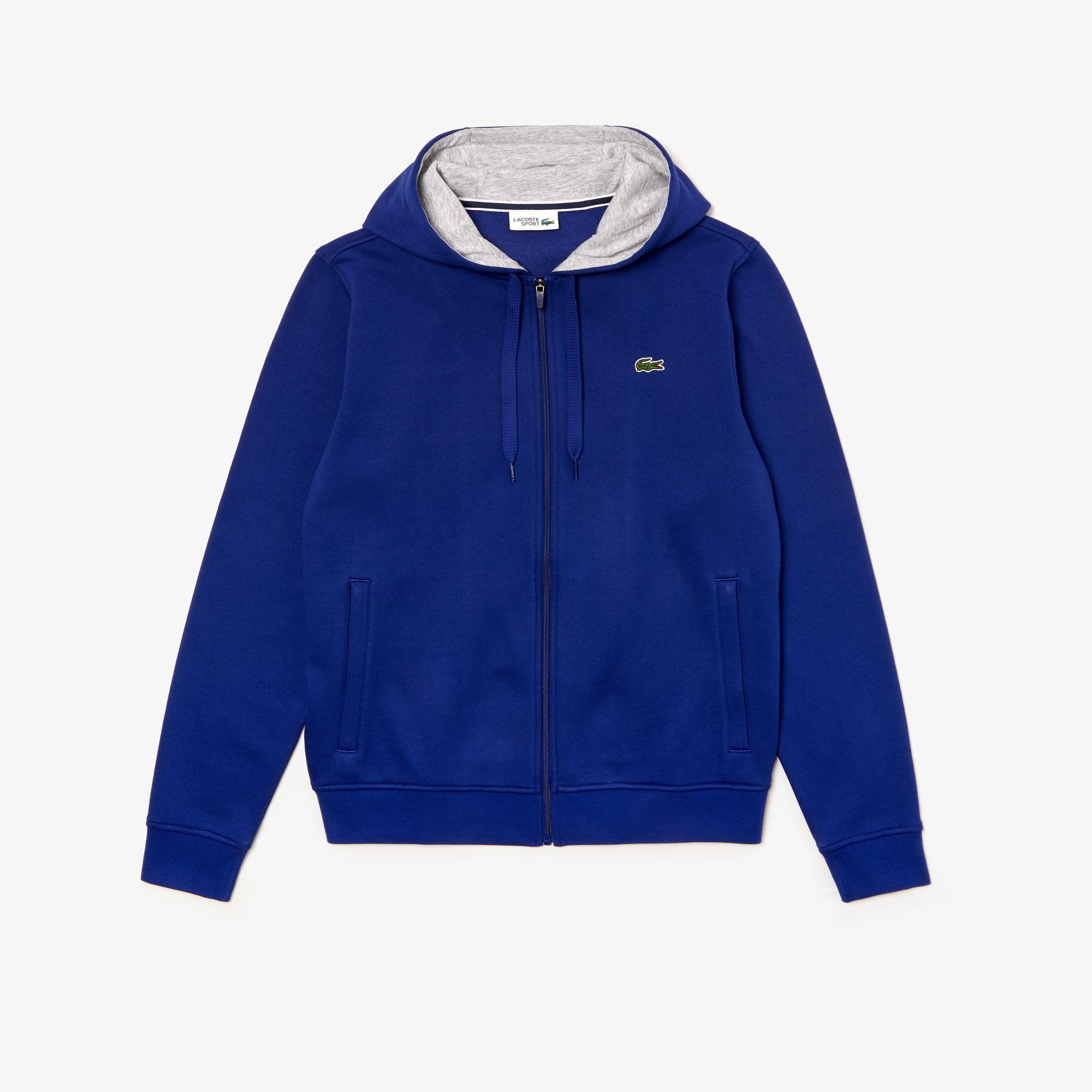 Lacoste Sport Men's Tennis Hooded Zippered Sweatshirt in Fleece