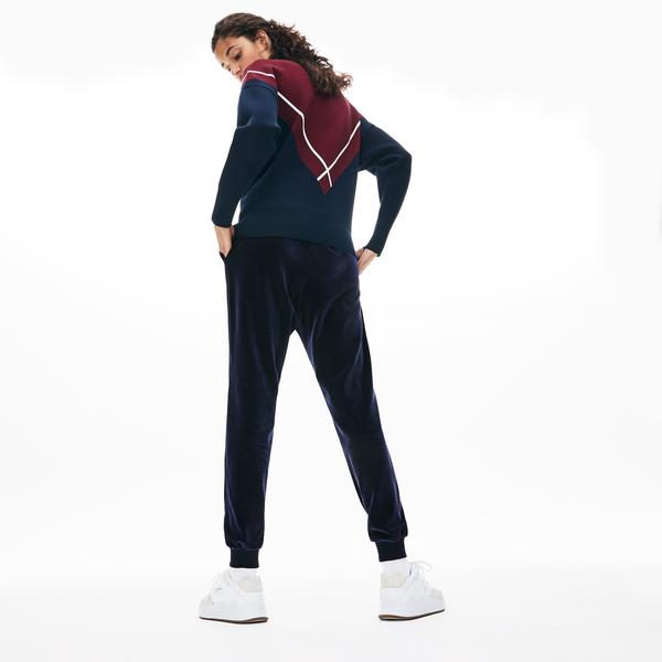 Lacoste Women's Fitted Leg Bottoms Velour Terrycloth Urban Sweatpants
