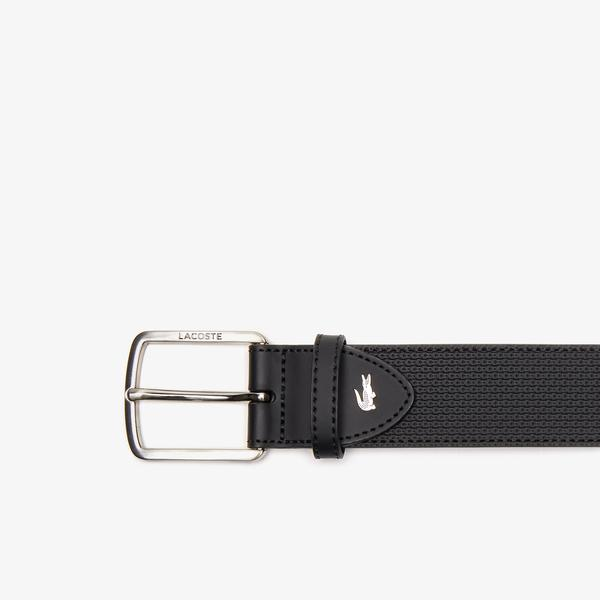 Lacoste Men's Engraved Buckle Texturized Leather Belt