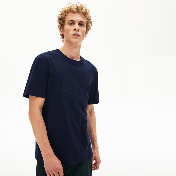 Lacoste Men's Crew Neck Oversized Crocodile Embroidery Cotton T-Shirt