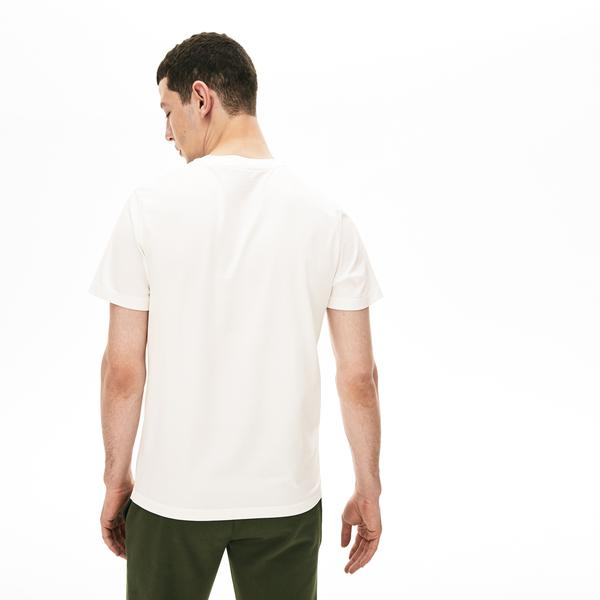 Lacoste Men's Crew Neck Check Lacoste Badge Cotton T-Shirt