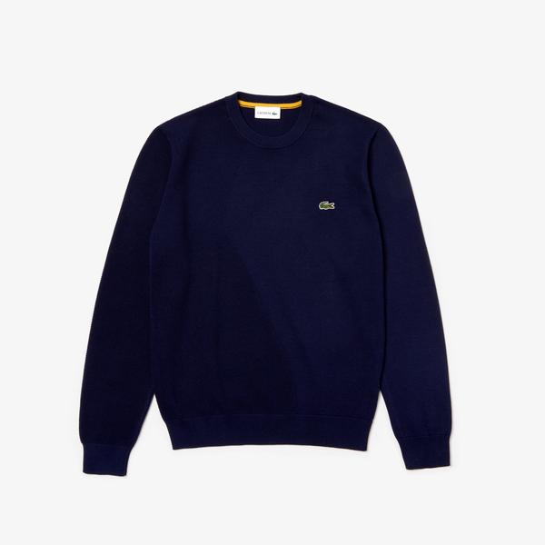 Lacoste Men's Crew Neck Texturised Thermoregulating Bi-Material Sweater