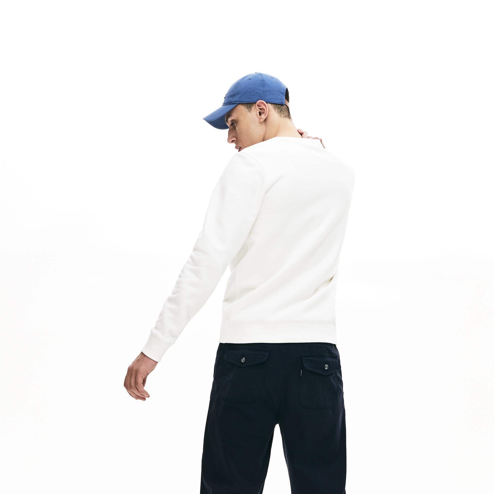 Lacoste Men's Crew Neck Check Lacoste Badge Fleece Sweatshirt