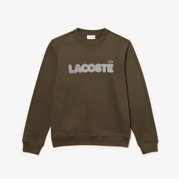 Lacoste Men's Crew Neck Check Lacoste Badge Fleece Sweatshirt