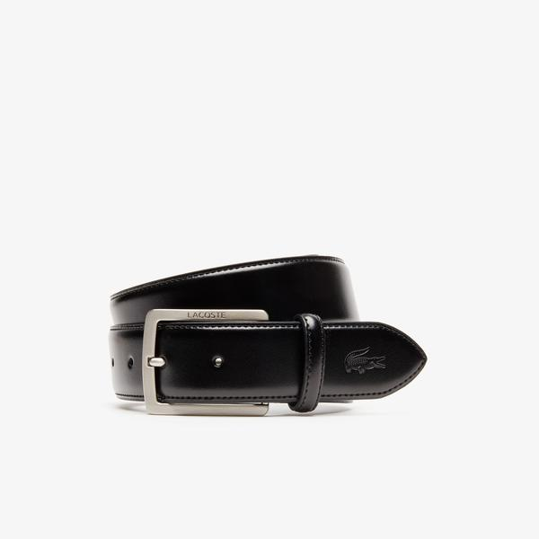 Lacoste Men's Engraved Buckle And Stamped Crocodile Leather Belt