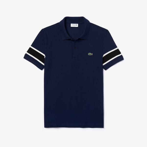 Lacoste Men's Slim Fit Contrast Striped Stretch Cotton Piqué Polo Shirt