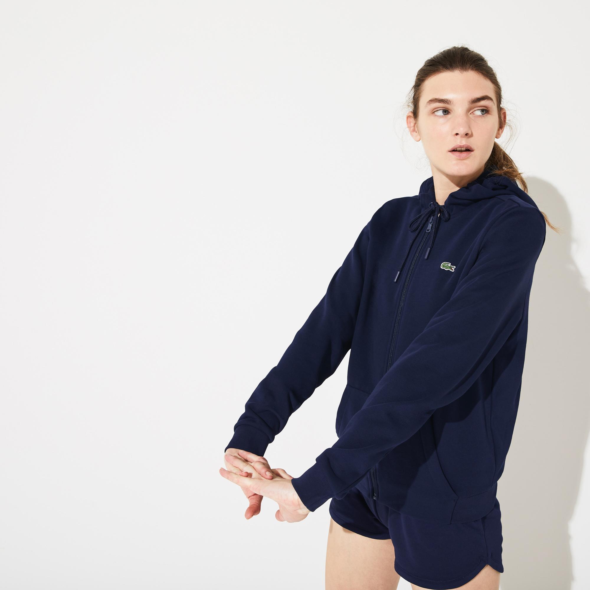 Lacoste Damska Sportowa Bluza Polarowa Z Kapturem Do Gry W Tenisa Na Zamek Błyskawiczny