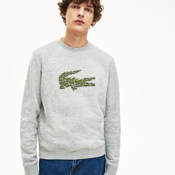 Lacoste Men's Crew Neck Multi Croc Badge Fleece Sweatshirt