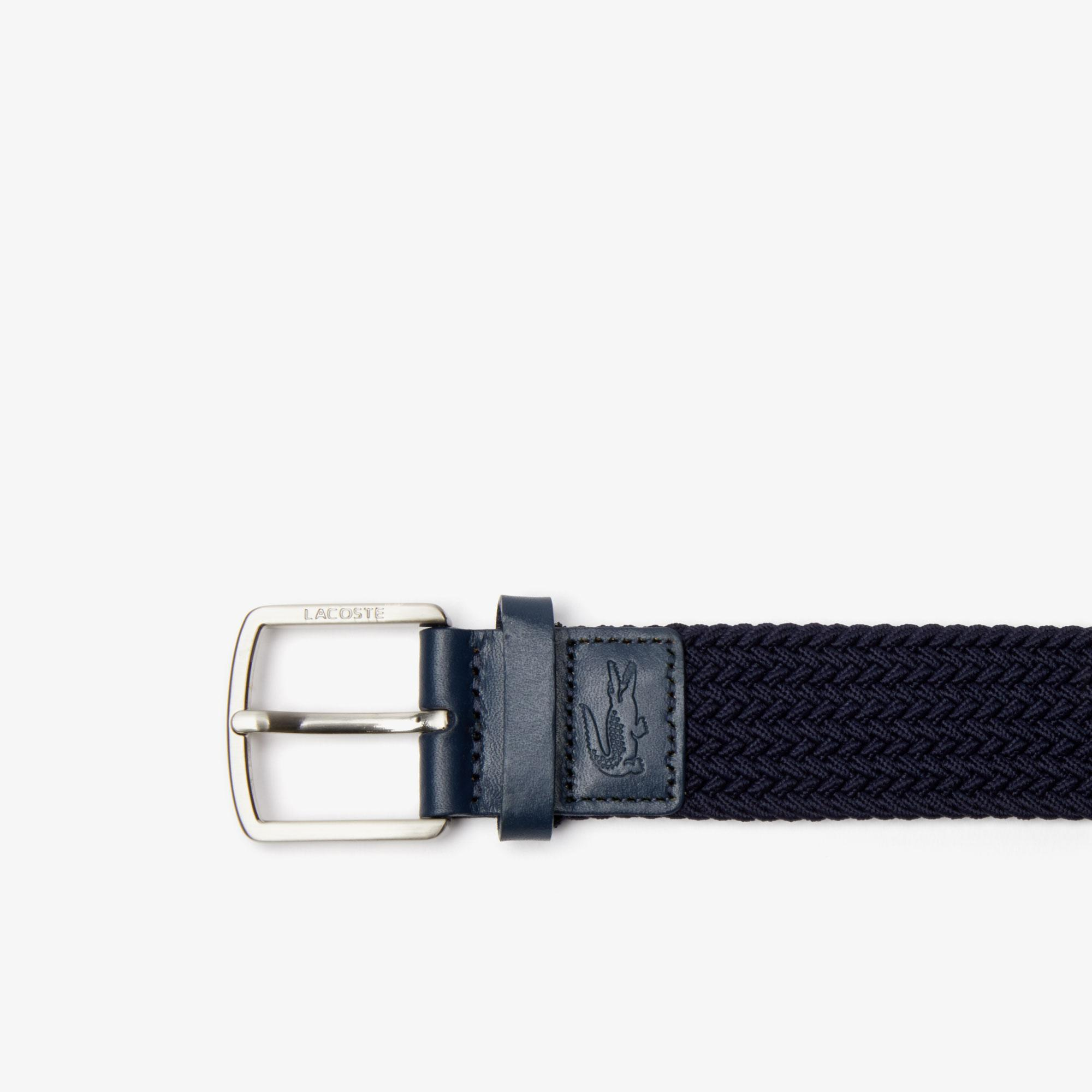Lacoste Men's Engraved Buckle Stretch Knitted Belt