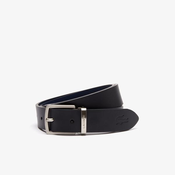 Lacoste Men's Reversible Leather Belt And 2 Buckles Gift Set