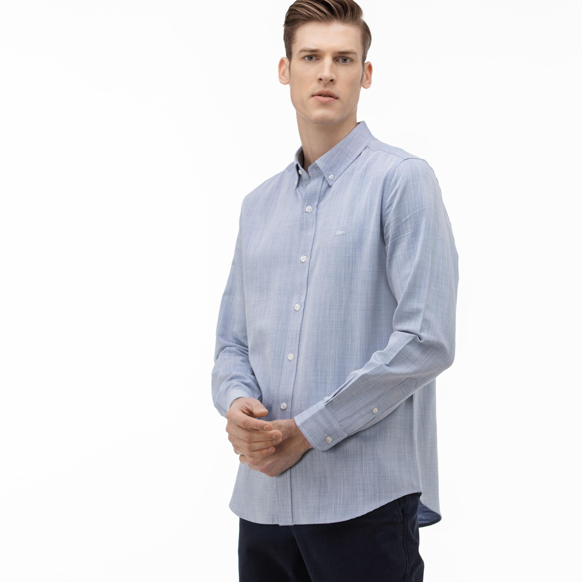 Lacoste Koszula Męska Slim Fit Z Kołnierzykiem Zapinanym Na Guziki