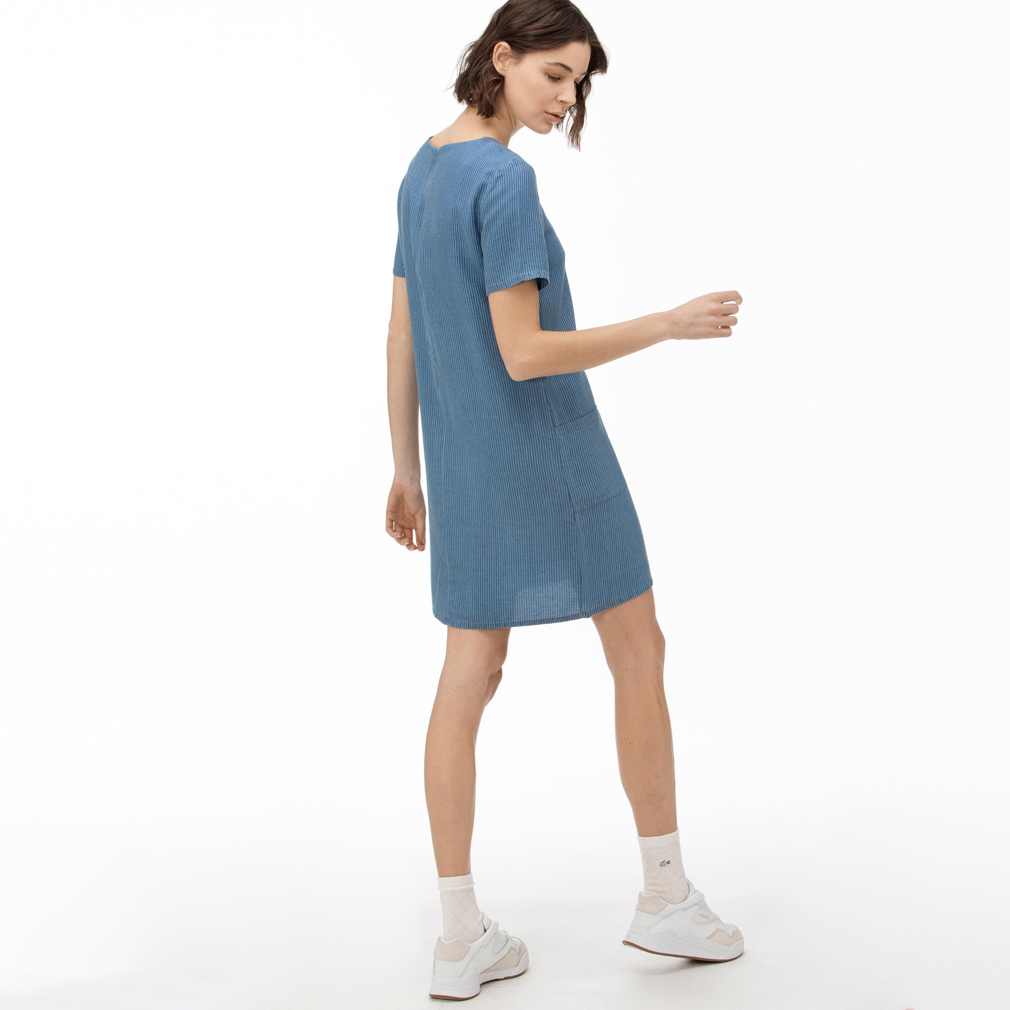 Lacoste Sukienka Damska Z Krótkimi Rękawami İ Okrągłym Wycięciem Pod Szyją