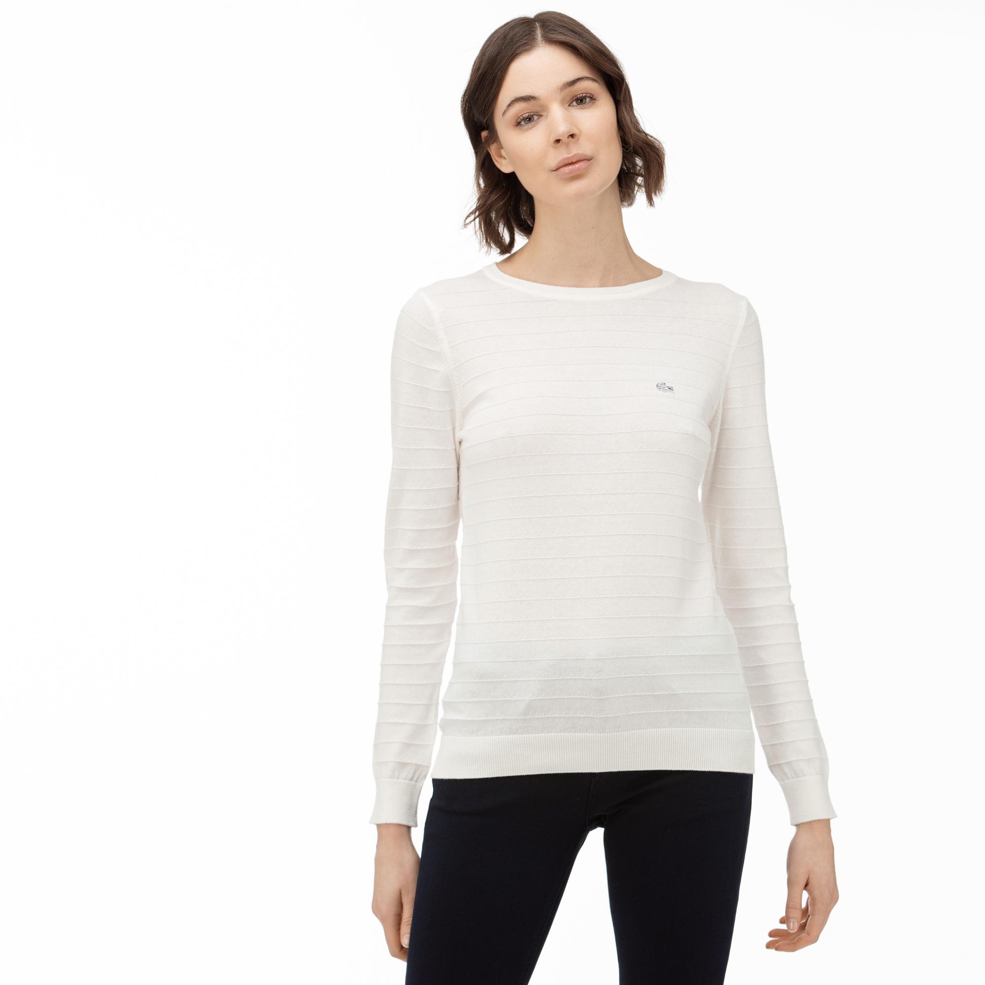Lacoste Damski Trykotowy Sweter Z Okrągłym Wycięciem Pod Szyją