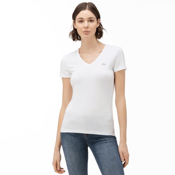 Lacoste T-Shirt Damski Z Dekoltem W Kształcie V