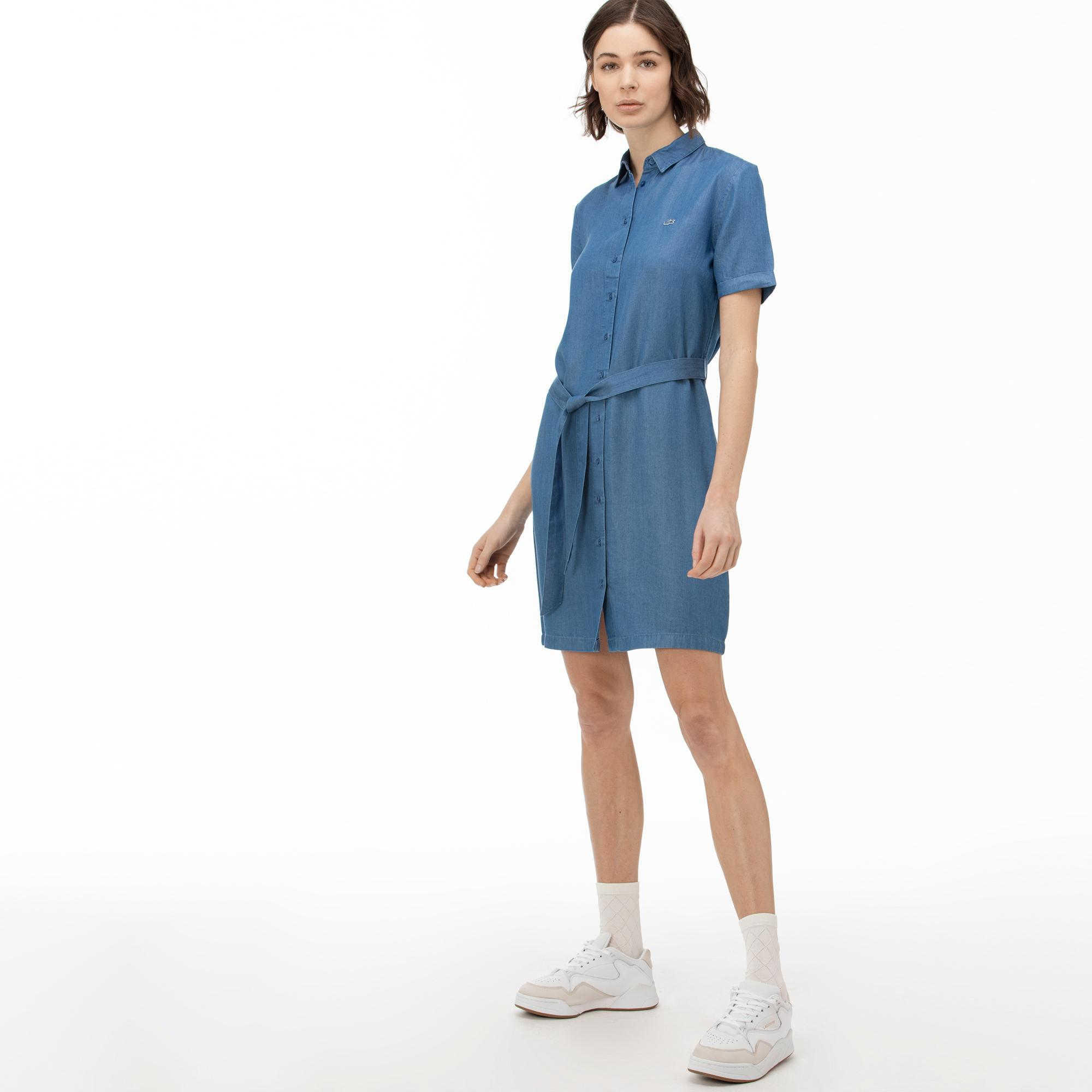Lacoste Sukienka Damska Z Krótkimi Rękawami