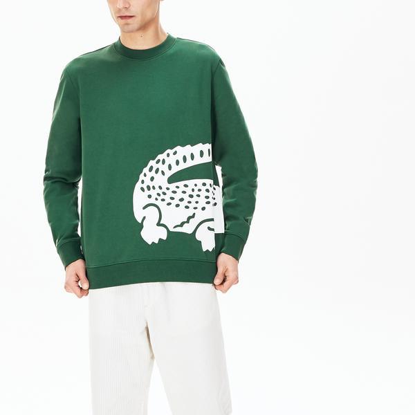Lacoste Męska Luźna Bluza Z Nadrukiem Krokodyla Z Okrągłym Dekoltem