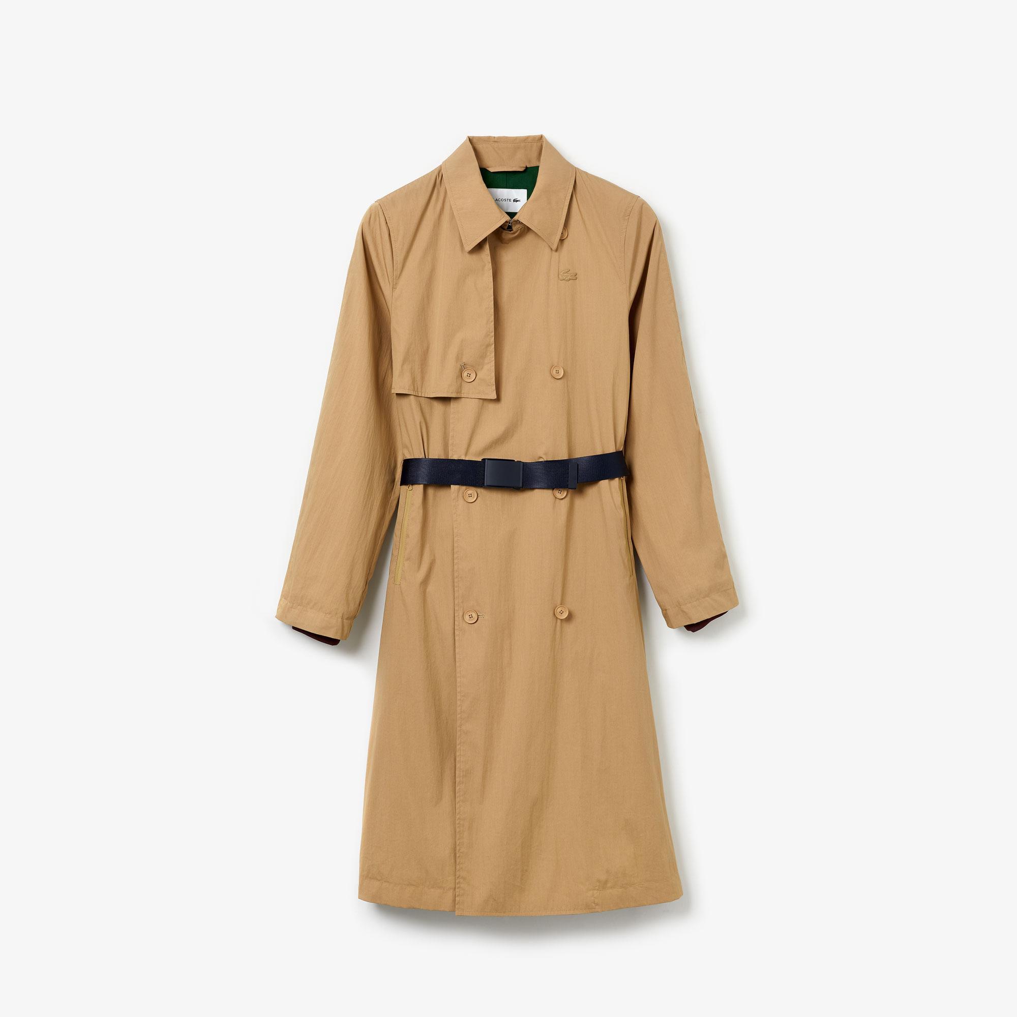 Lacoste Damski Płaszcz Typu Trencz Z Kontrastowym Paskiem