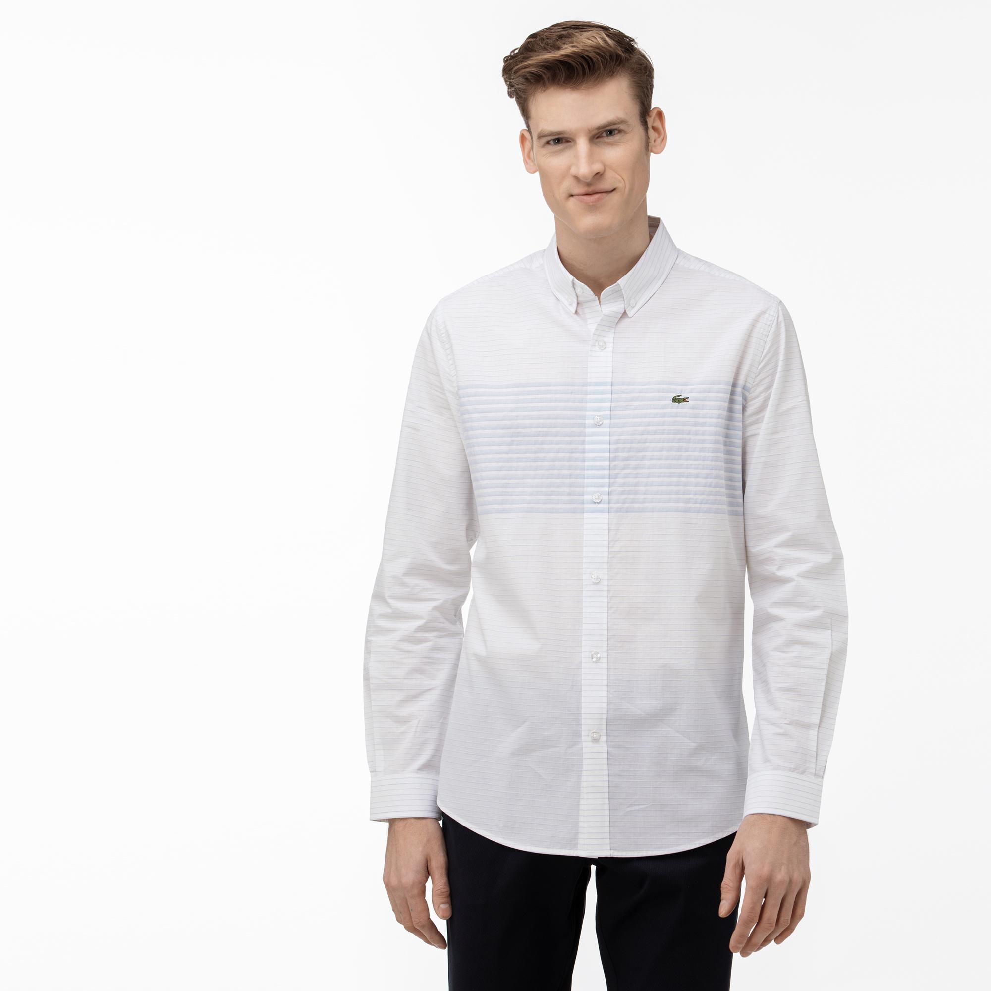 Lacoste Koszula Męska Regular Fit Z Kołnierzykiem Zapinanym Na Guziki