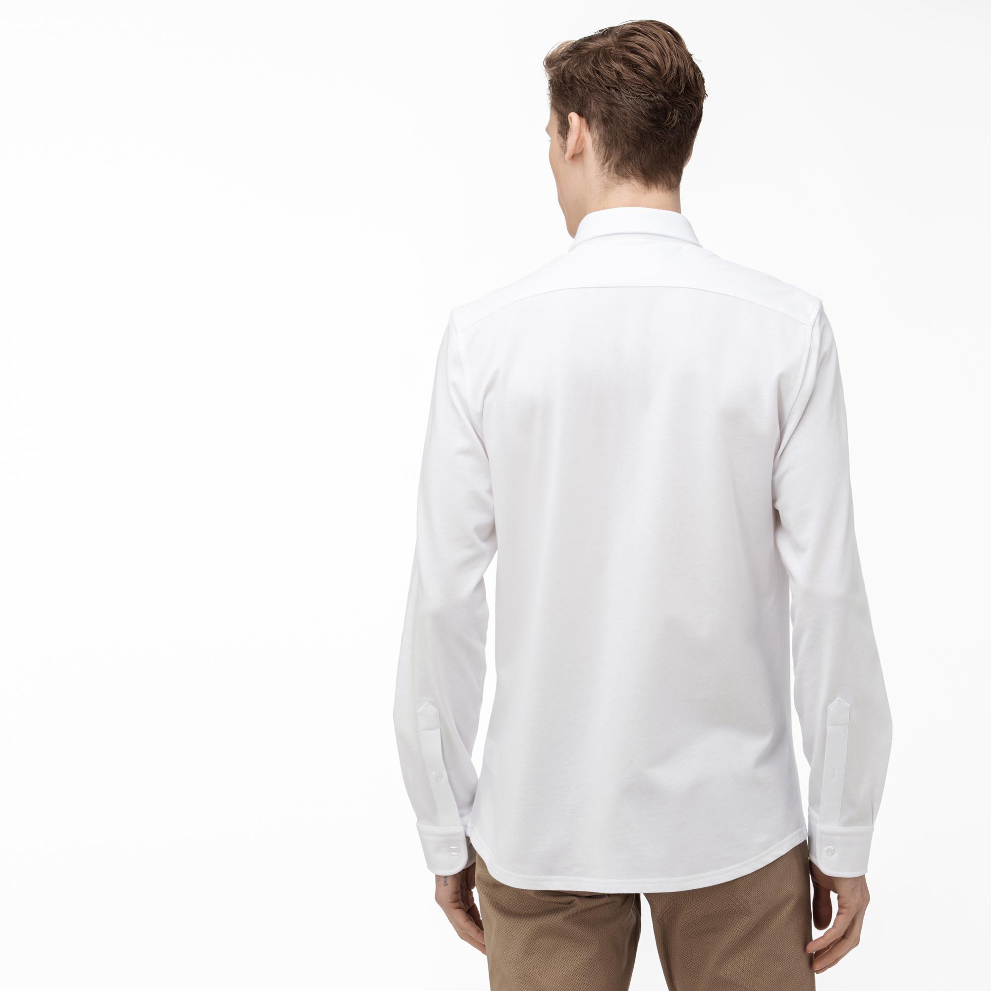 Lacoste Koszula Męska Slim Fit, Z Kołnierzykiem Zapinanym Na Guziki