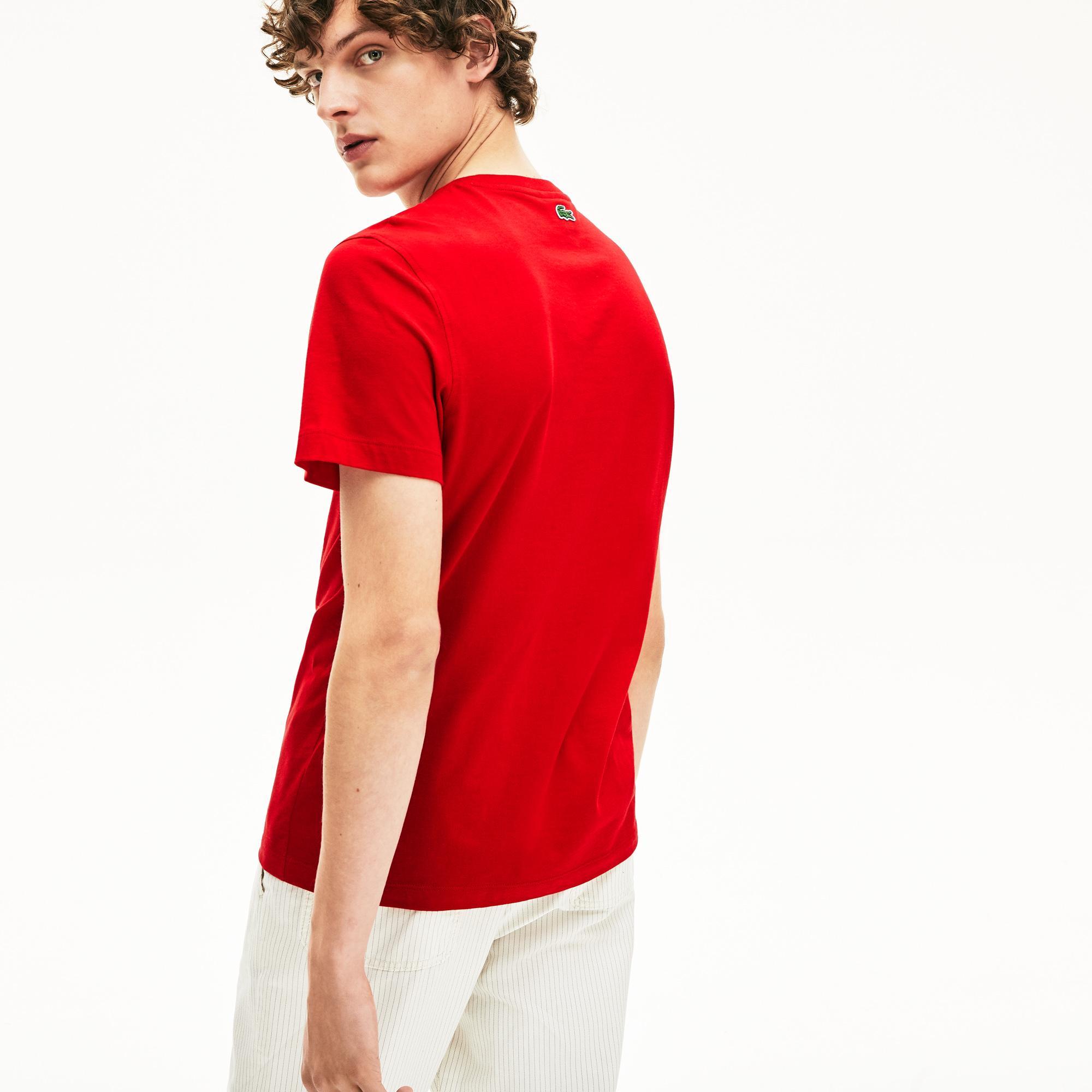 Lacoste Męski T-Shirt Z Nadrukiem Krokodyla Z Okrągłym Dekoltem