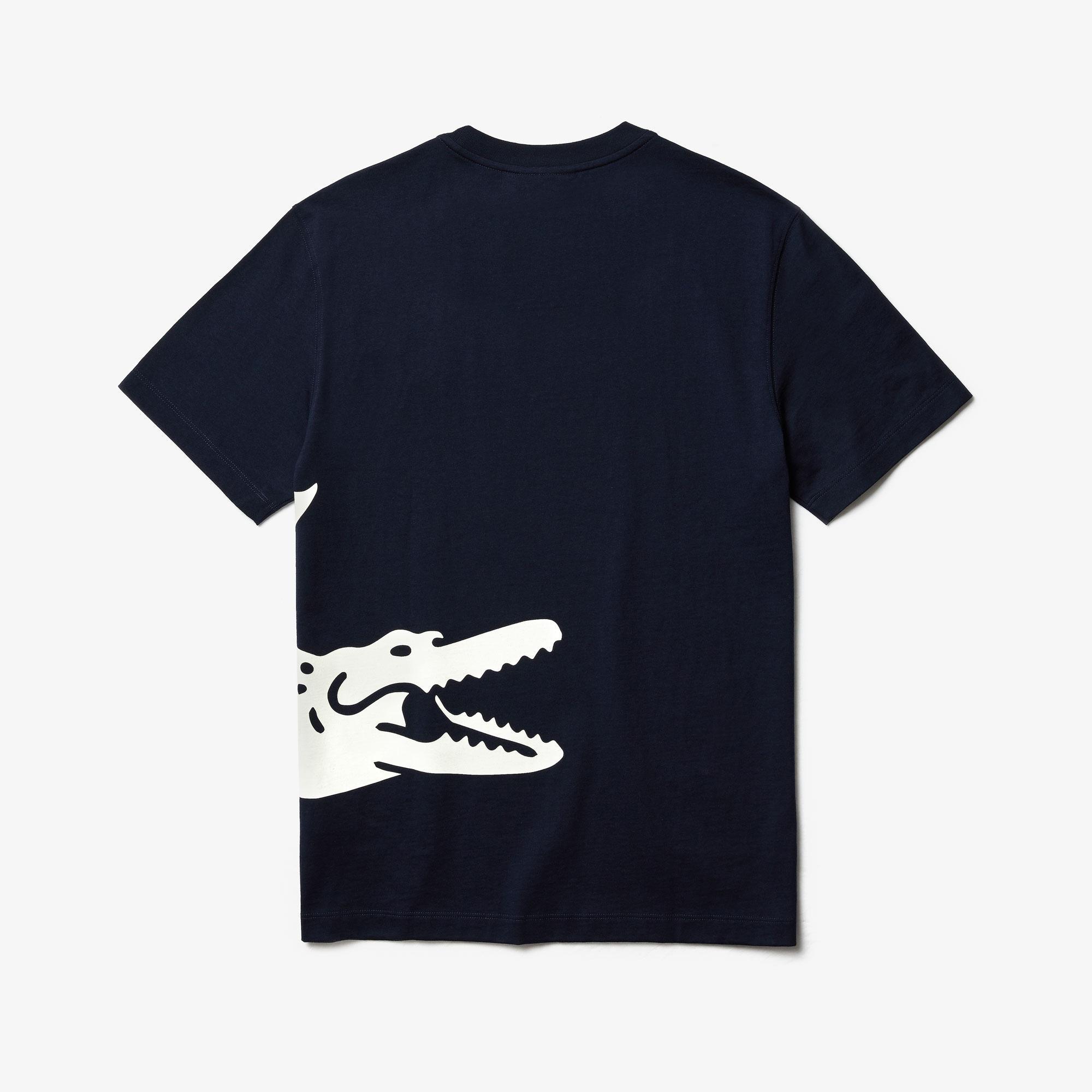 Lacoste Męski Luźny T-Shirt Z Nadrukiem Krokodyla Z Okrągłym Dekoltem