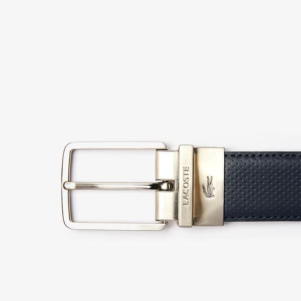 Lacoste Men's Engraved Buckle Reversible Piqué Leather Belt