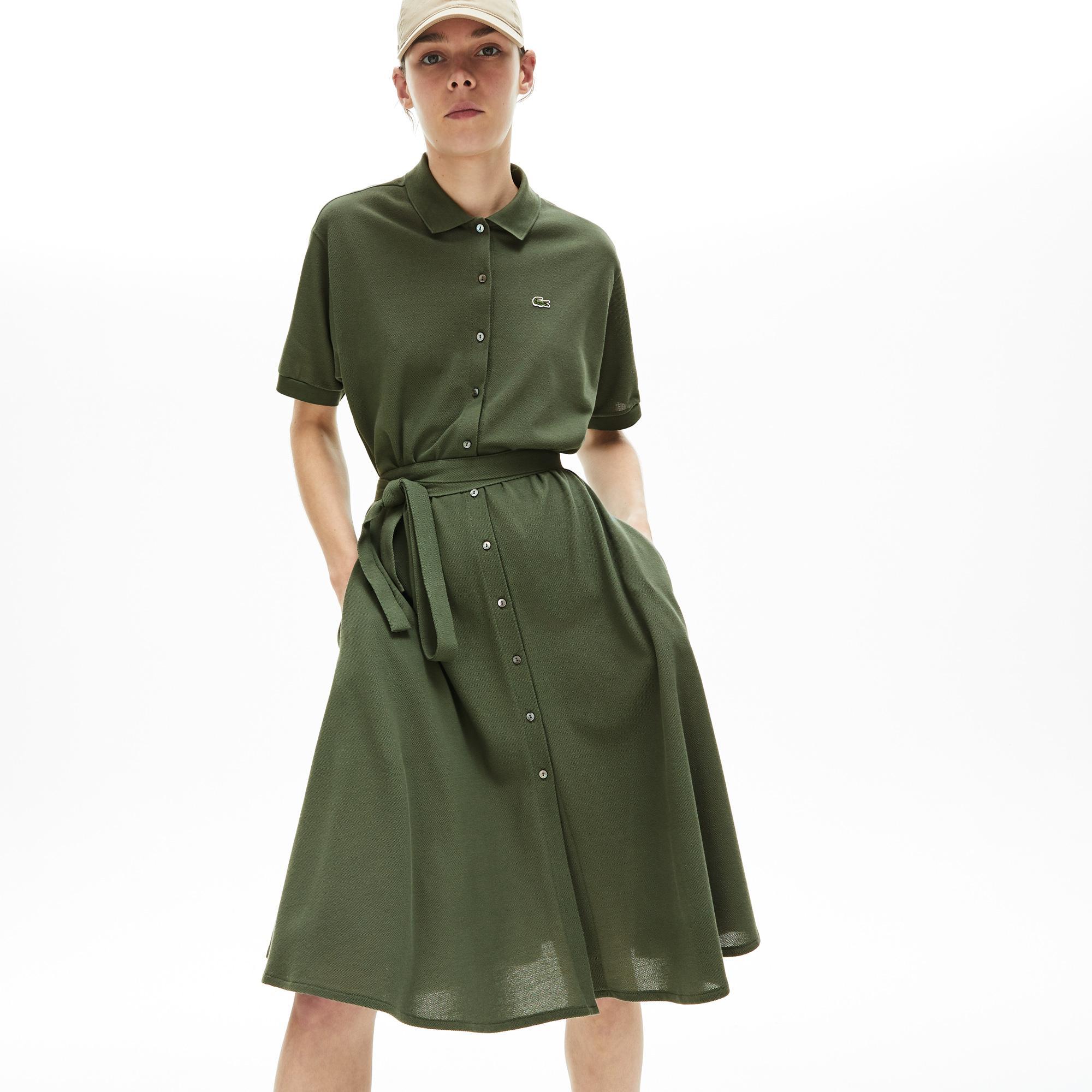 Lacoste Damska Sukienka Polo Z Piki Z Paskiem
