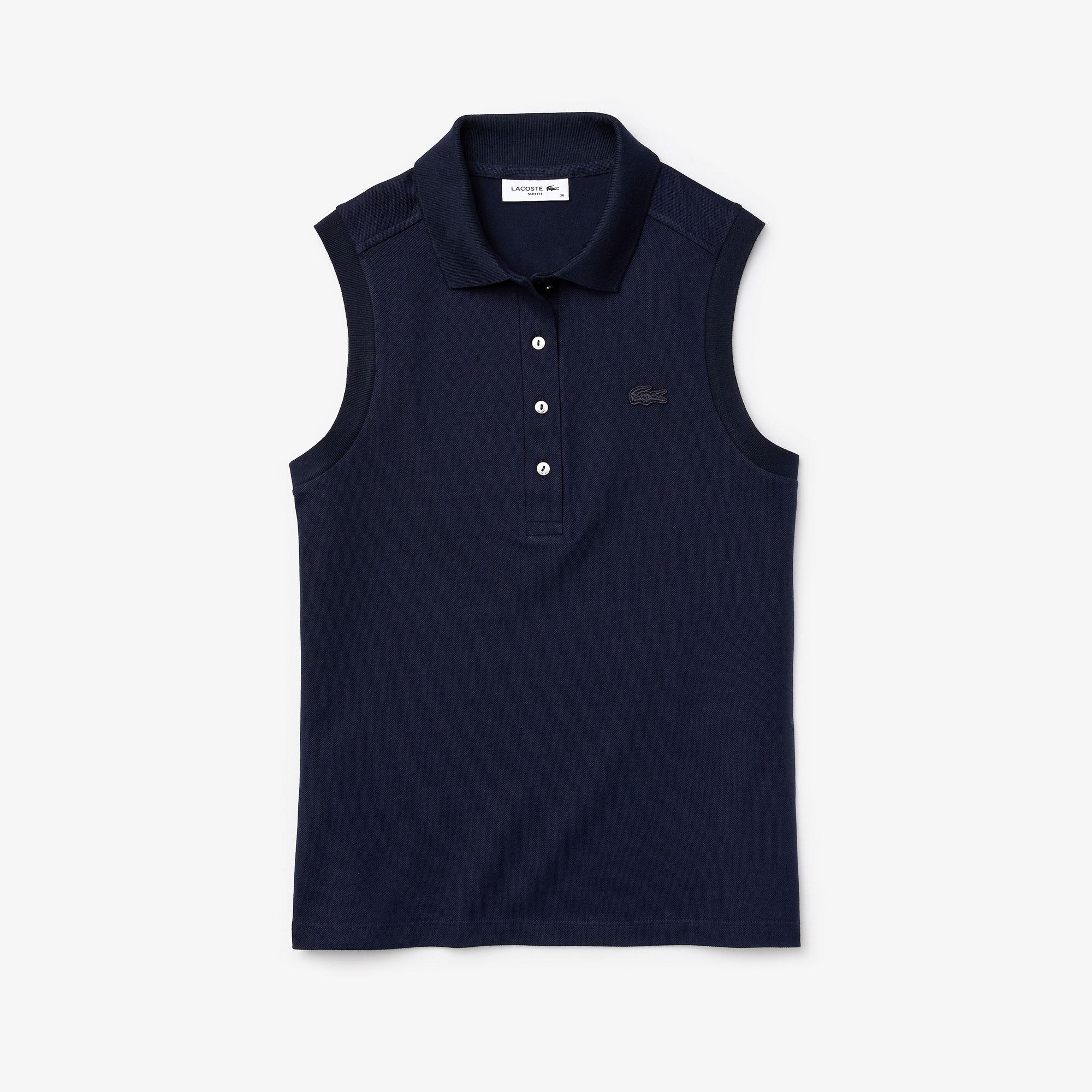 Lacoste Damska Koszulka Polo Z Piki Bez Rękawów